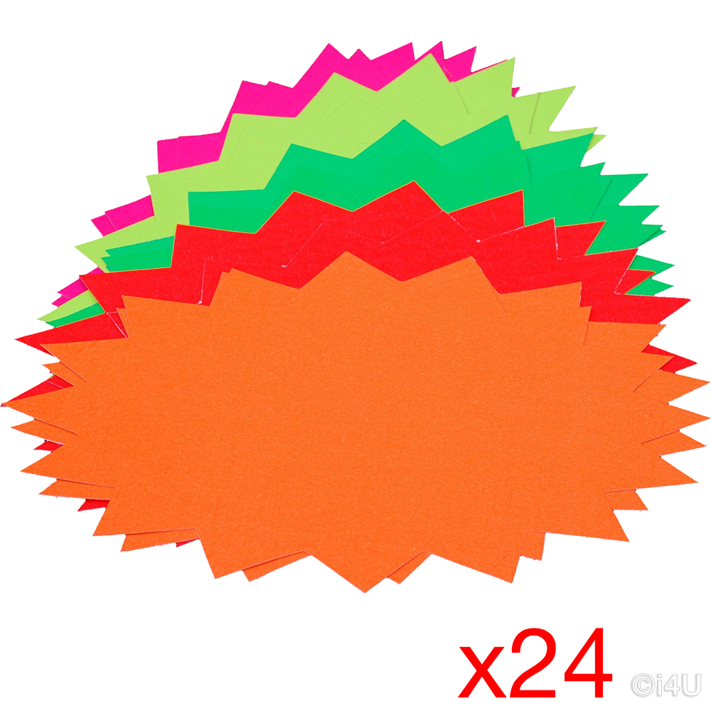 """600 X LARGE 6/"""" NEON//FLUORESCENT STAR FLASH CARDS PRICE DISPLAY TAGS LABELS SHOP"""