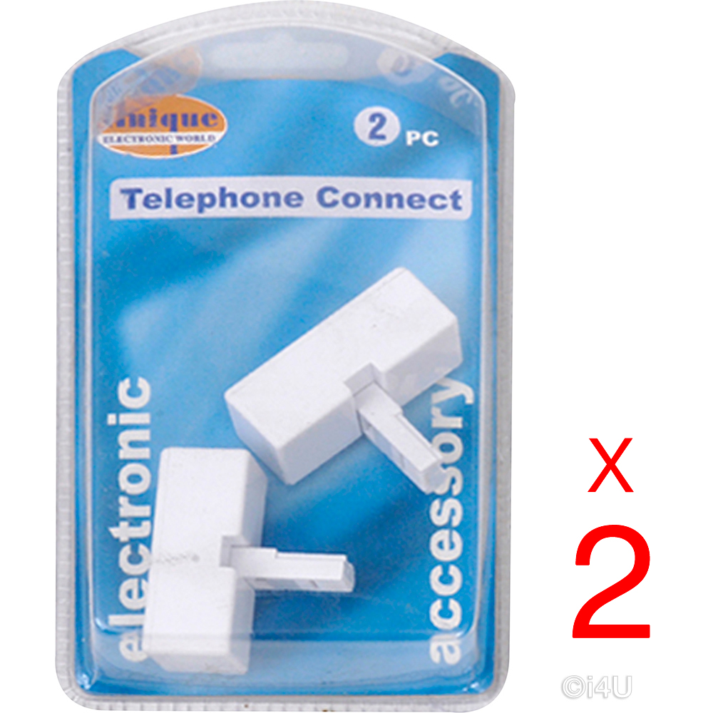 4 X UK TELEPHONE PLUG TO SOCKET ADAPTER CONNECTOR PLUG STRAIGHT WIRE ...