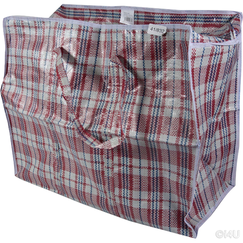 JUMBO SHOPPING BAG 80x60x20 QUALITY WOVEN PVC PLASTIC LAUNDRY STORAGE BAGS ZIP
